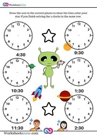 Draw arms of clock time worksheet
