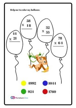 Multiplication Worksheets 2 by 2Digits