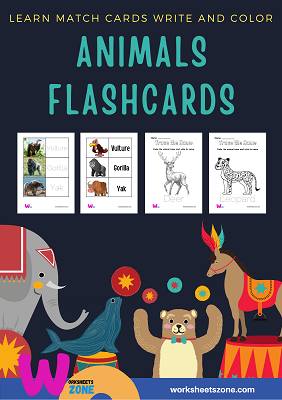 printable animal flashcards read,write,draw,learn and match real,cartoon photo