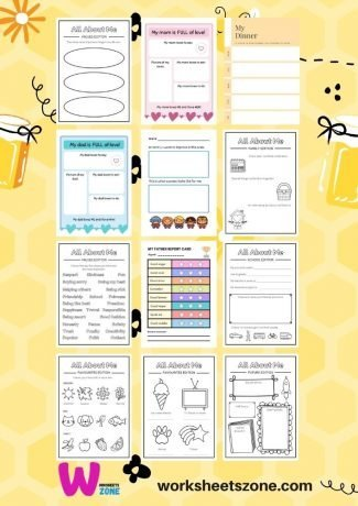 All About Me book Ideas download free activity worksheet printables workbook pdf